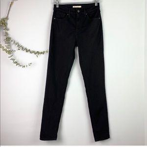 Levi's 721 High Waisted Black Skinny Jeans Size 28